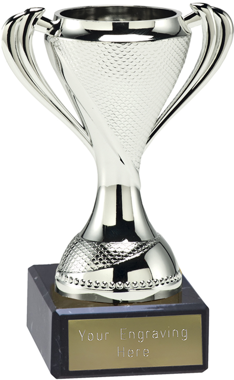 "Trophy Cup On Black Marble Base Silver 12cm (4.75"")"
