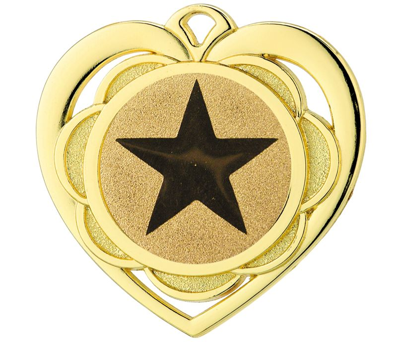 "Multi Award Heart Medal Gold 50mm (2"")"