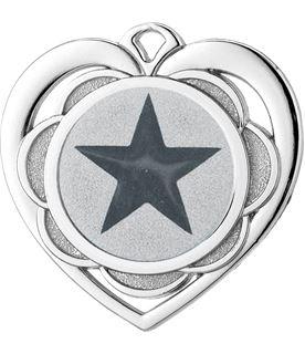 "Multi Award Heart Medal Silver 50mm (2"")"