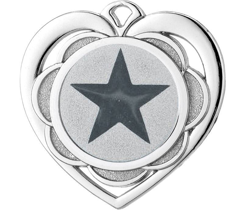 "Multi Award Heart Medal Silver 50mm (2"")"