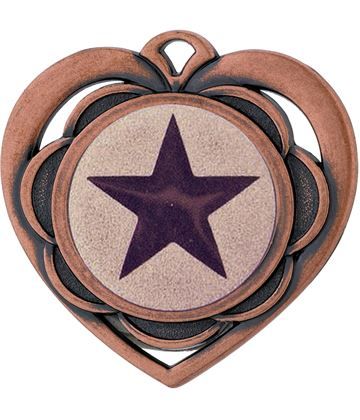 "Multi Award Heart Medal Bronze 50mm (2"")"