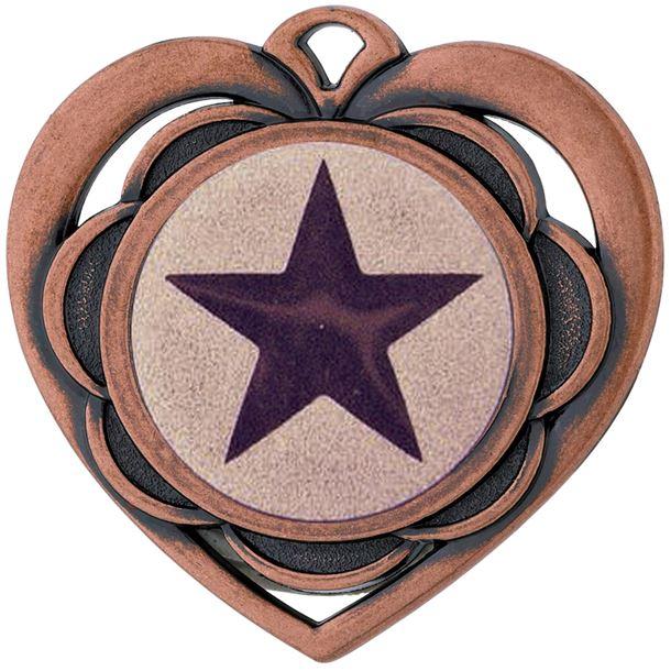 """Multi Award Heart Medal Bronze 50mm (2"""")"""