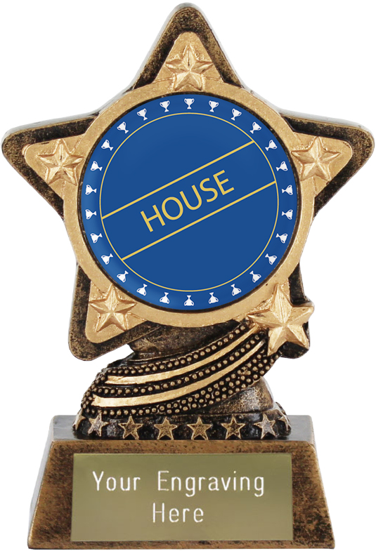 "Blue House Trophy by Infinity Stars 10cm (4"")"