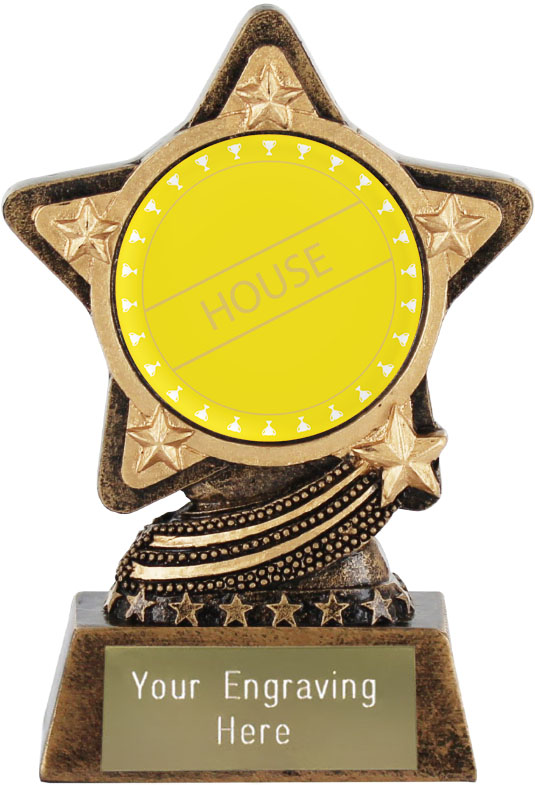 "Yellow House Trophy by Infinity Stars 10cm (4"")"