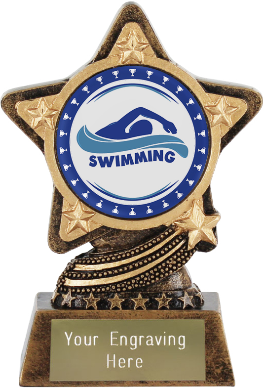 "Swimming Trophy by Infinity Stars 10cm (4"")"