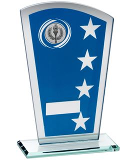 "Blue Silver Printed Glass Shield Trophy 16.5cm (6.5"")"