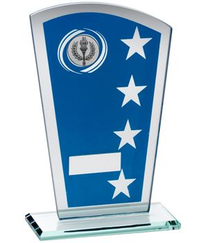 "Blue Silver Printed Glass Shield Trophy 20.5cm (8"")"