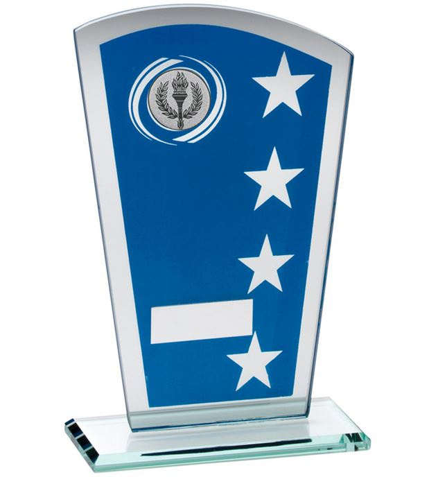 "Blue Silver Printed Glass Shield Trophy 20.5cm (8"")"