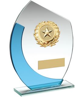 "Blue & Silver Curved Glass Plaque Award With Gold Detail 18cm (7"")"