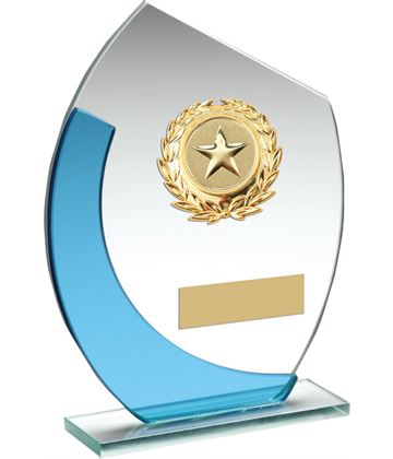"Blue & Silver Curved Glass Plaque Award With Gold Detail 14cm (5.5"")"