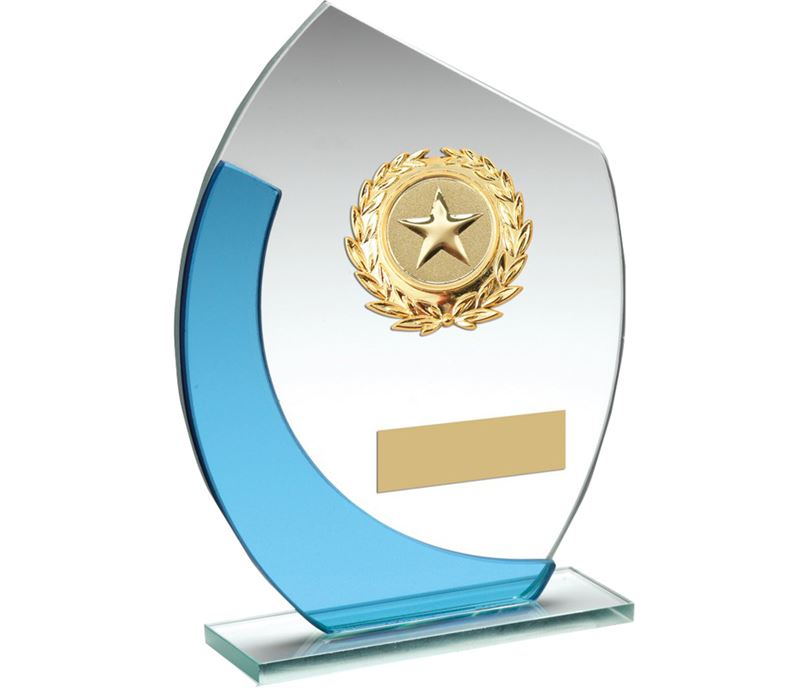 """Blue & Silver Curved Glass Plaque Award With Gold Detail 15cm (6"""")"""