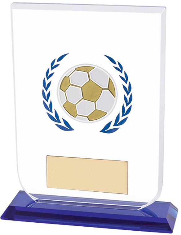 "Football Gladiator Glass Award Blue & Clear 12cm (4.75"")"