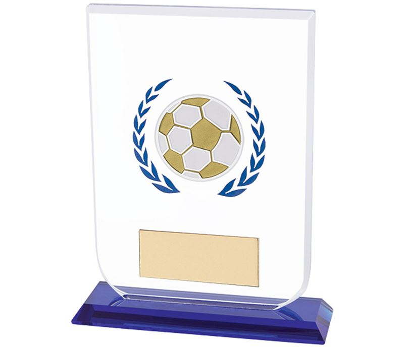 "Football Gladiator Glass Award Blue & Clear 12cm (4.75"")"