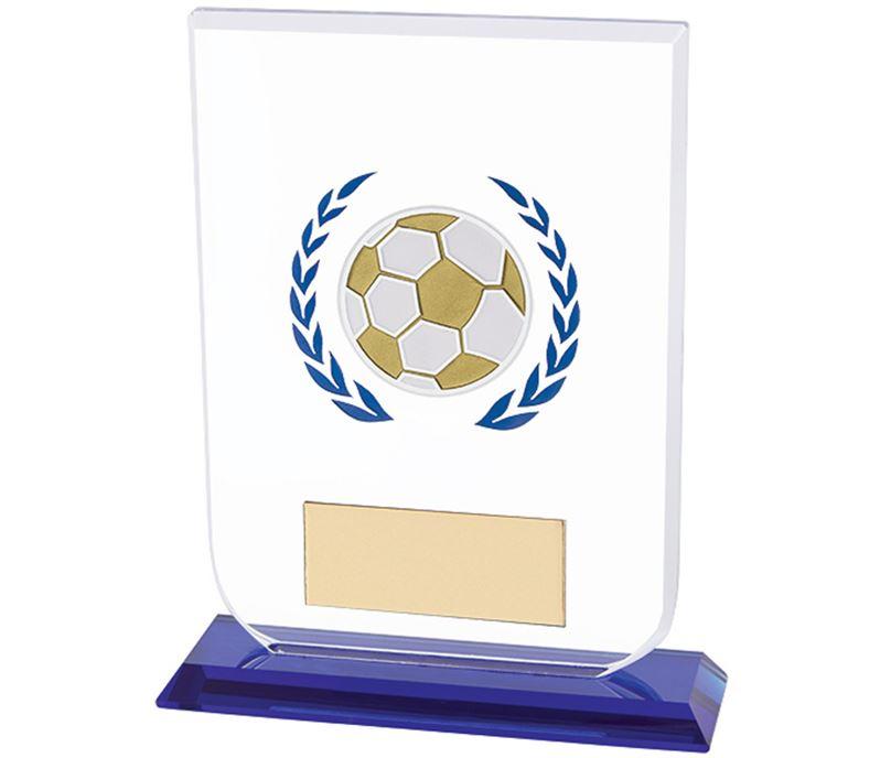 "Football Gladiator Glass Award Blue & Clear 14cm (5.5"")"