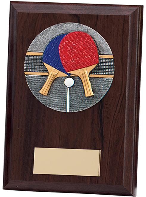 "Table Tennis Plaque Award 15cm (6"")"