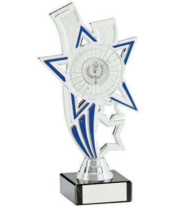"Silver Star Riser Trophy On White Marble Base 16cm (6.25"")"