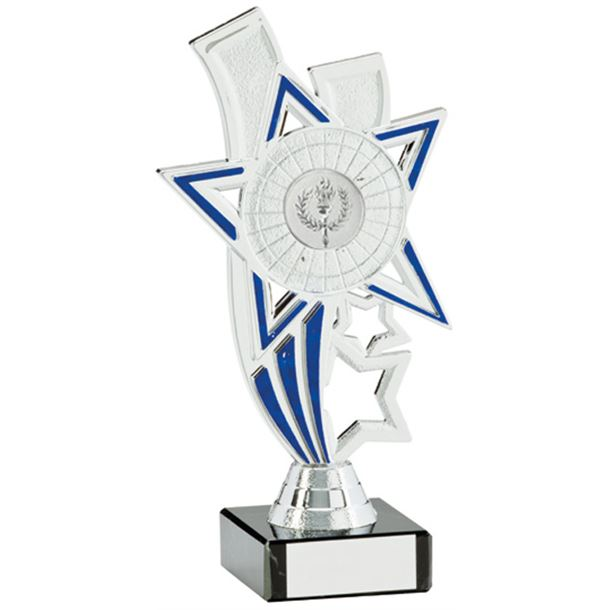 "Silver Star Riser Trophy On White Marble Base 16cm (6.25"")"