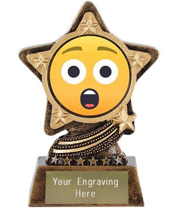 """Astonished Face Emoji Trophy by Infinity Stars 10cm (4"""")"""