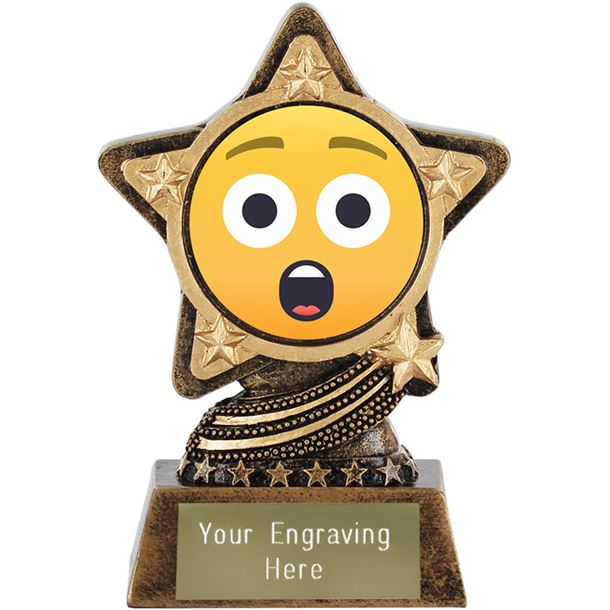 "Astonished Face Emoji Trophy by Infinity Stars 10cm (4"")"