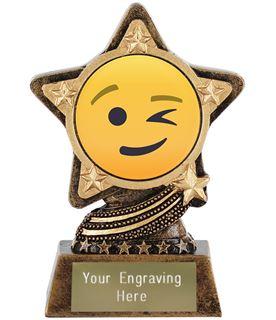 "Winking Face Emoji Trophy by Infinity Stars 10cm (4"")"