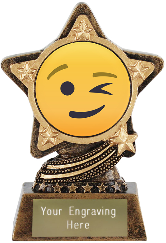 "Winking Face Emoji Trophy by Infinity Stars 10cm (4"")"