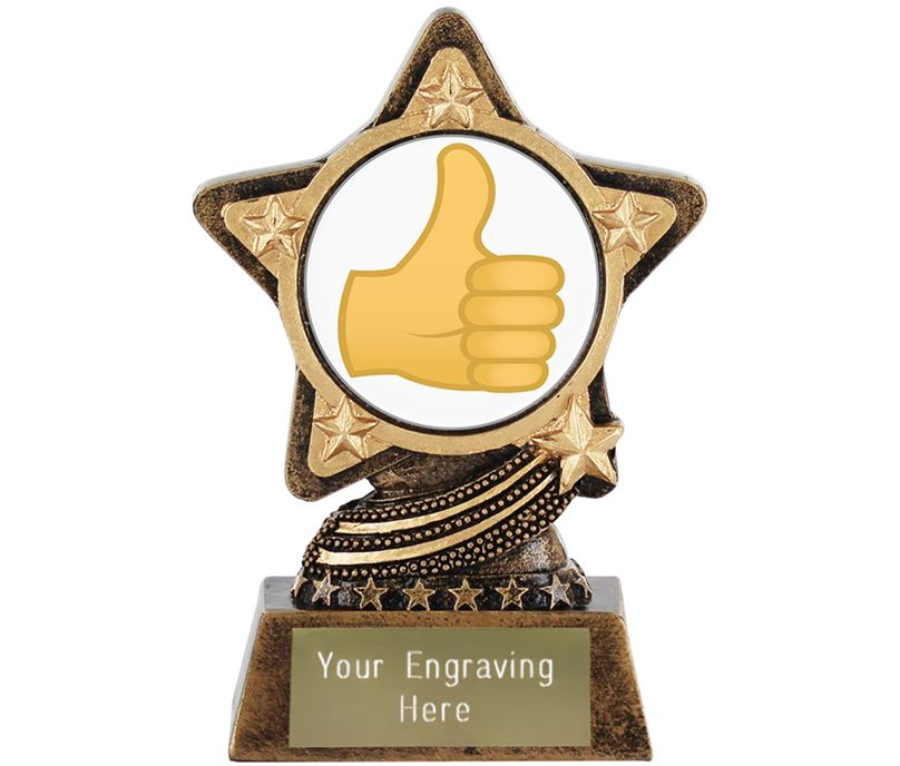 "Thumbs Up Emoji Trophy by Infinity Stars 10cm (4"")"
