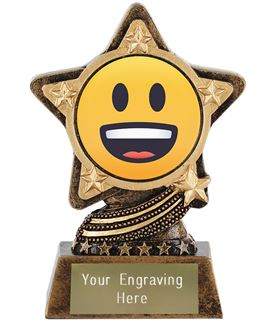 "Grinning Face Emoji Trophy by Infinity Stars 10cm (4"")"