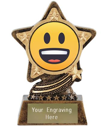 """Grinning Face Emoji Trophy by Infinity Stars 10cm (4"""")"""