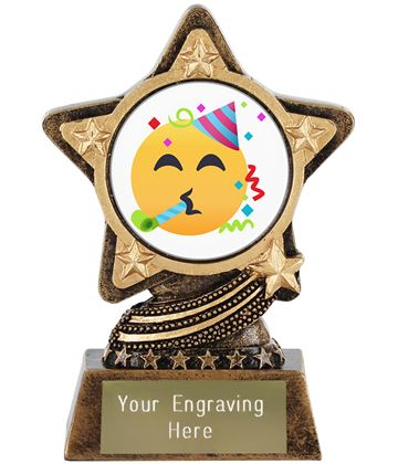 """Partying Face Emoji Trophy by Infinity Stars 10cm (4"""")"""