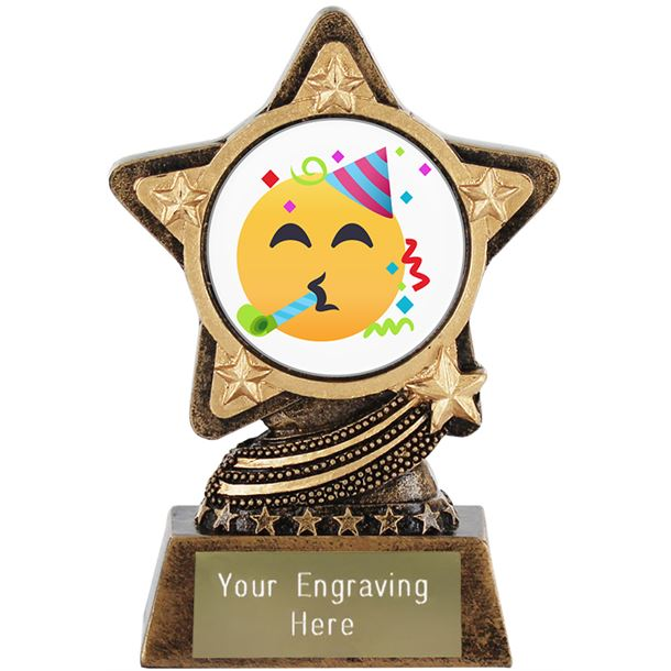 "Partying Face Emoji Trophy by Infinity Stars 10cm (4"")"