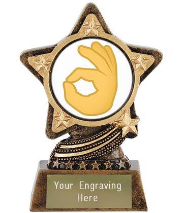 """OK Hand Emoji Trophy by Infinity Stars 10cm (4"""")"""