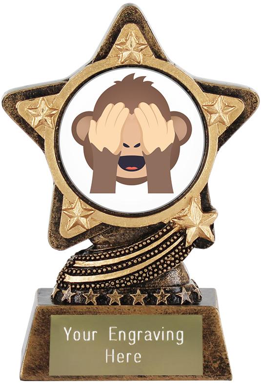 "See No Evil Monkey Emoji Trophy by Infinity Stars 10cm (4"")"