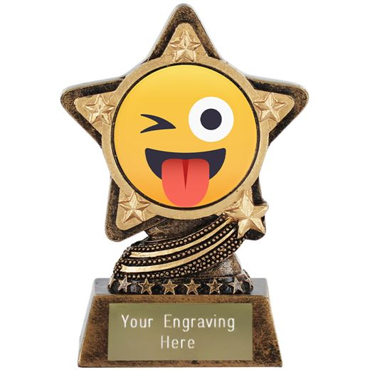 """Winking Face With Tongue Emoji Trophy by Infinity Stars 10cm (4"""")"""