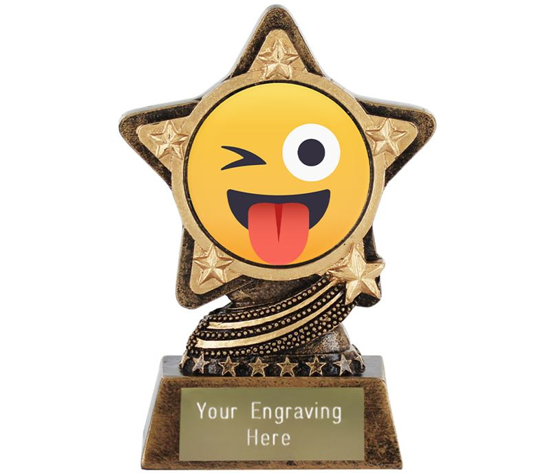 "Winking Face With Tongue Emoji Trophy by Infinity Stars 10cm (4"")"