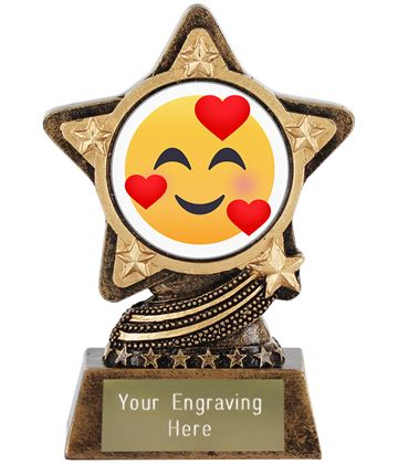 """Smiling Face With Hearts Emoji Trophy by Infinity Stars 10cm (4"""")"""