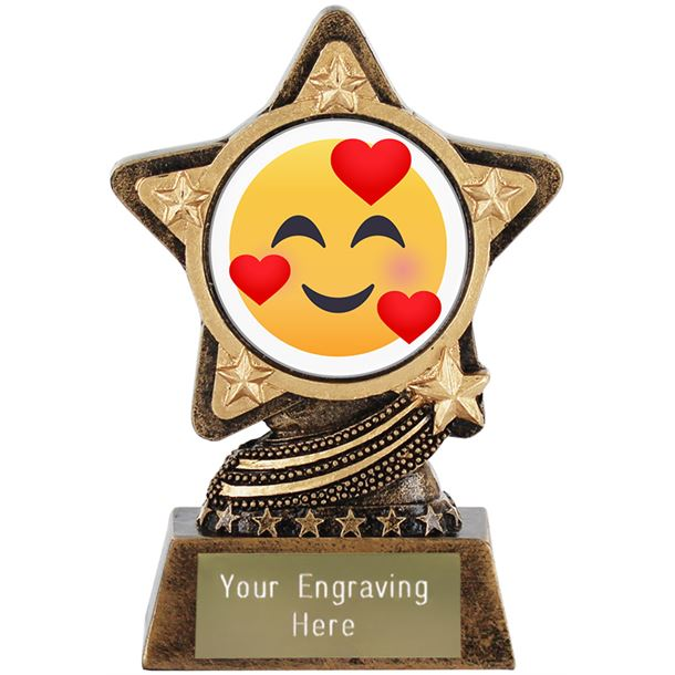 "Smiling Face With Hearts Emoji Trophy by Infinity Stars 10cm (4"")"