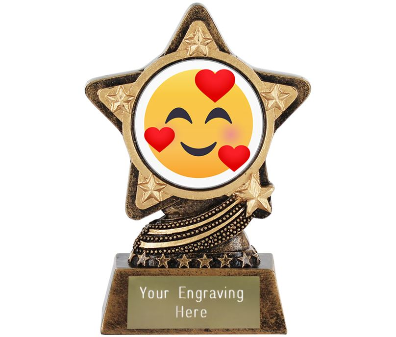 Smiling Face With Hearts Emoji Trophy by Infinity Stars 10cm (4