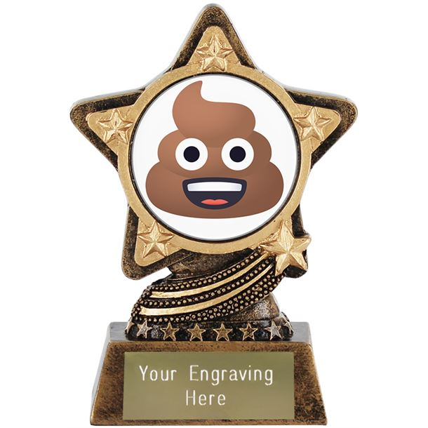"Pile Of Poo Emoji Trophy by Infinity Stars 10cm (4"")"