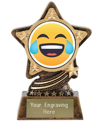 "Face With Tears Of Joy Emoji Trophy by Infinity Stars 10cm (4"")"