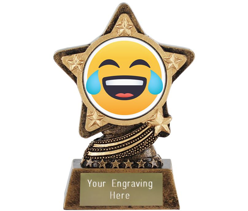 "Face With Tears Of Joy Emoji Trophy by Infinity Stars 10cm (4"")"