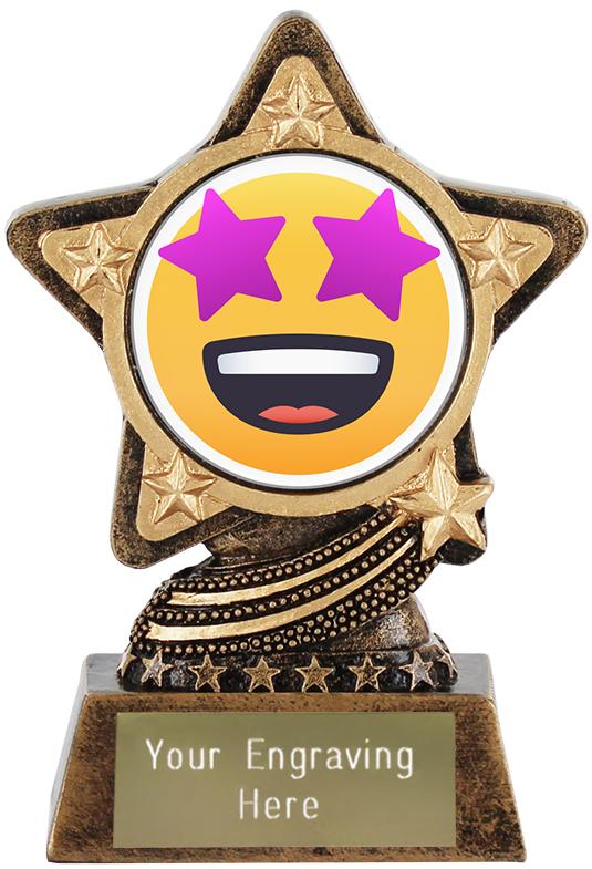 "Star Struck Emoji Trophy by Infinity Stars 10cm (4"")"