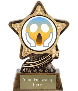 "Face Screaming In Fear Emoji Trophy by Infinity Stars 10cm (4"")"