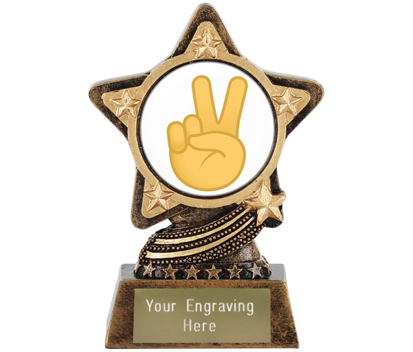 "Victory Hand Emoji Trophy by Infinity Stars 10cm (4"")"