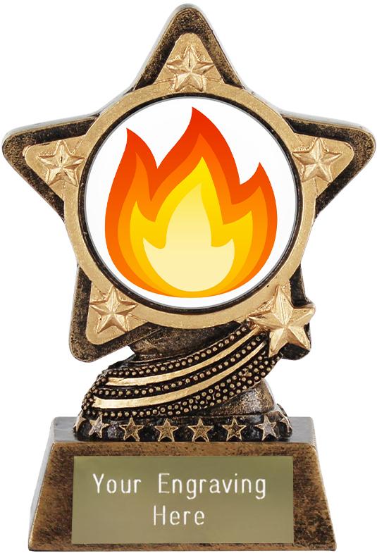 """Fire Emoji Trophy by Infinity Stars 10cm (4"""")"""