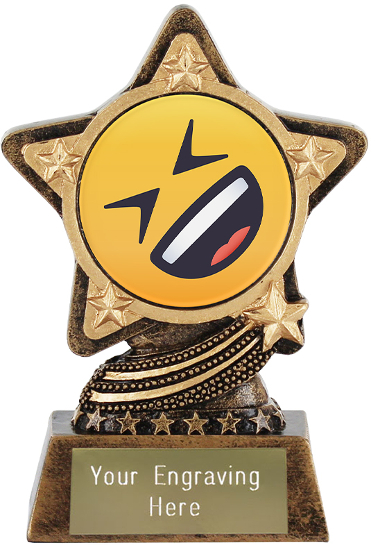 "Rolling On The Floor Laughing Emoji Trophy by Infinity Stars 10cm (4"")"