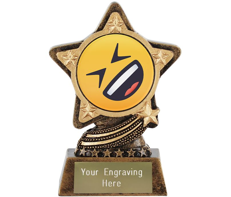 """Rolling On The Floor Laughing Emoji Trophy by Infinity Stars 10cm (4"""")"""