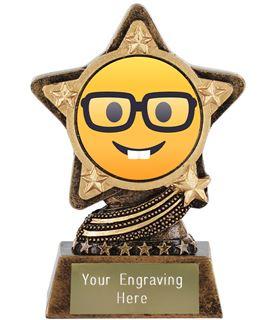 "Nerd Face Emoji Trophy by Infinity Stars 10cm (4"")"