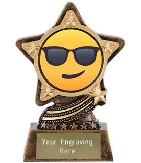 "Smiling Face With Sunglasses Emoji Trophy by Infinity Stars 10cm (4"")"