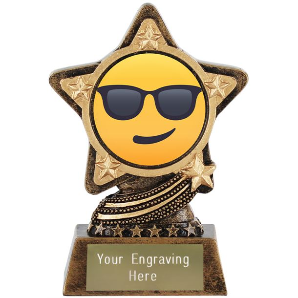"""Smiling Face With Sunglasses Emoji Trophy by Infinity Stars 10cm (4"""")"""