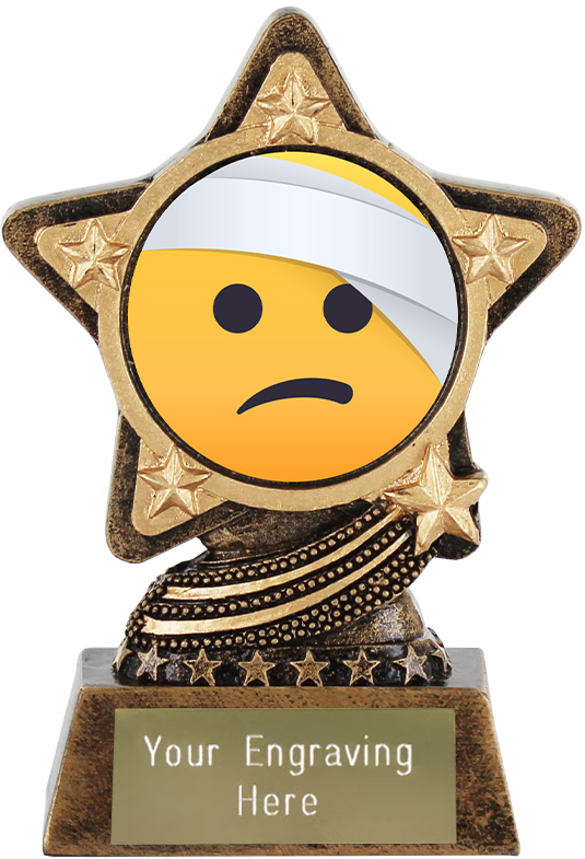 "Face With Head Bandage Emoji Trophy by Infinity Stars 10cm (4"")"